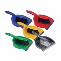 Dustpan & Brush Set Soft Bristles Red
