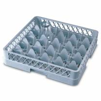 Genware 25 Compartment Glass Rack with 4 Extenders