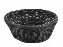 Black Round Polywicker Basket 21 x 8cm (x6)