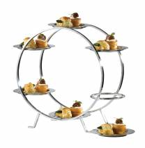 Food Stand +6 Stainless Steel Plates 13cm  (x1)