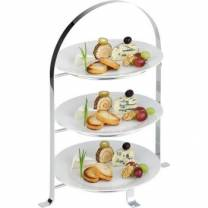 3 Tier Chrome Serving Stand (Max 26cm Plates)