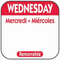 25mm Wednesday Removable Day Labels (x1000)