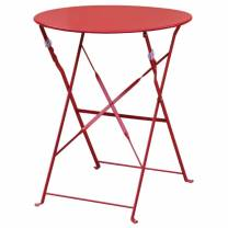 Bolero Pavement Style Round Steel Table Red 595mm